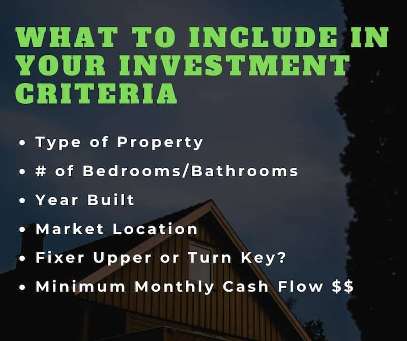 investment criteria on how to buy rental properties