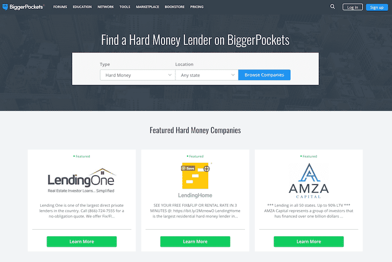 bigger pockets hard money lender database